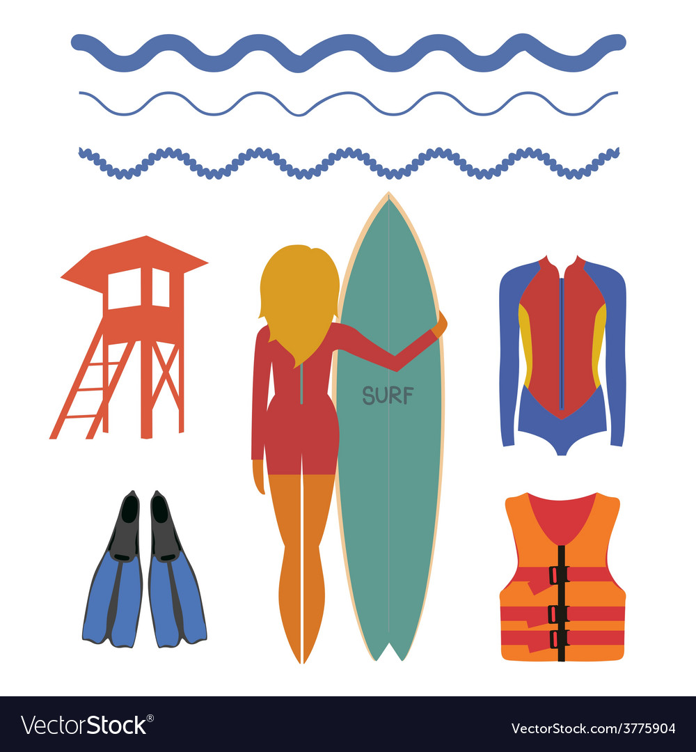 Girl surfer and water sport vector | Price: 1 Credit (USD $1)