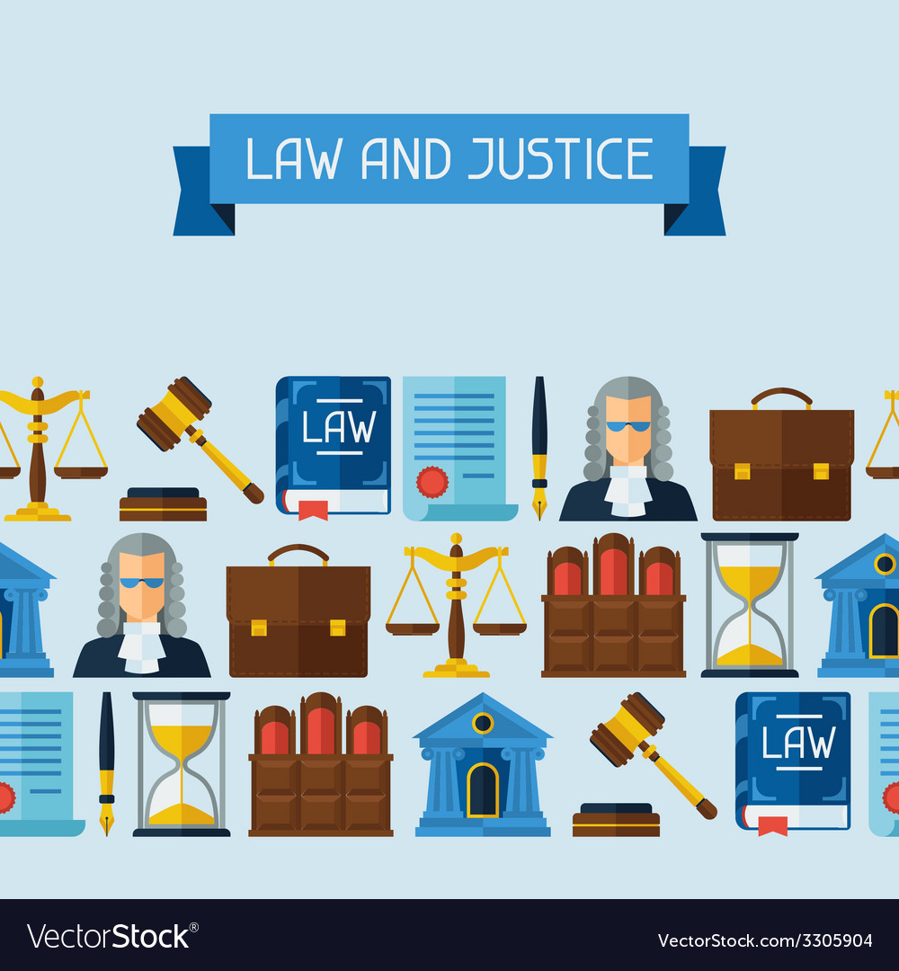 Law icons seamless pattern in flat design style vector | Price: 1 Credit (USD $1)