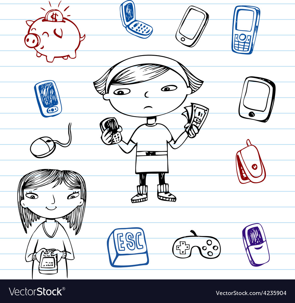 Mobile communication hipsters doodle set vector | Price: 1 Credit (USD $1)