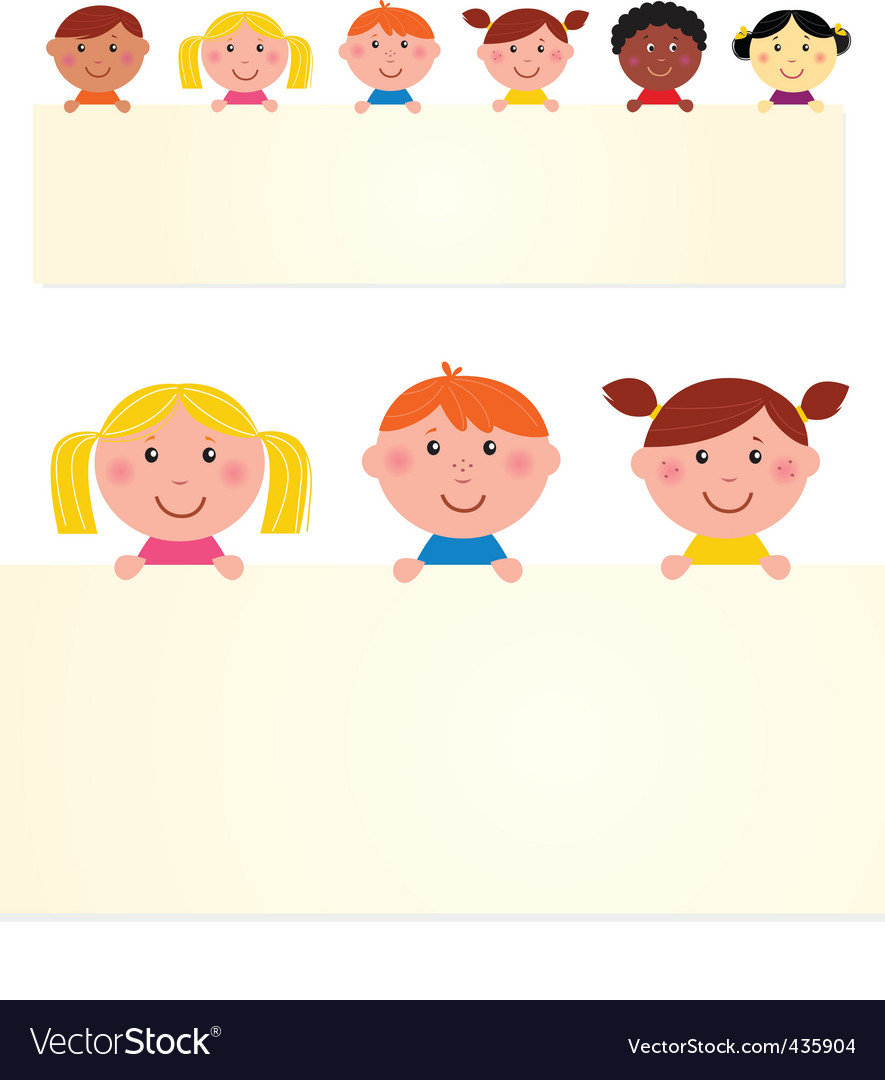 Multicultural kids banner vector | Price: 1 Credit (USD $1)