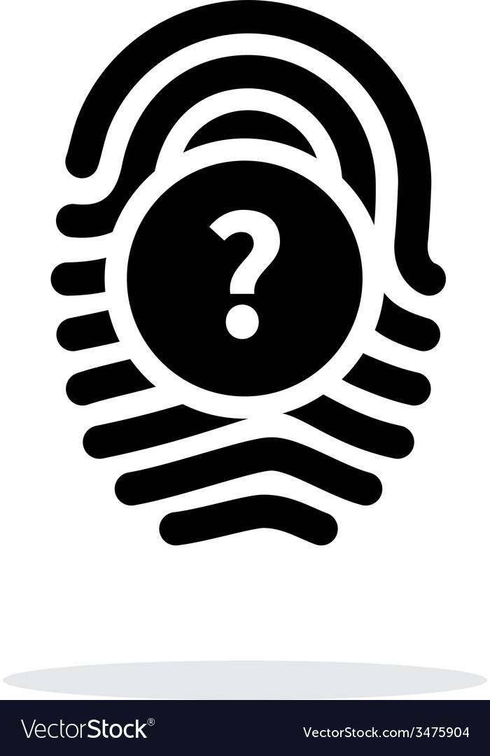 Question mark faq sign fingerprint icon on white vector | Price: 1 Credit (USD $1)
