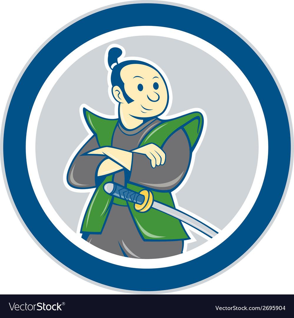Samurai warrior arms folded circle cartoon vector | Price: 1 Credit (USD $1)