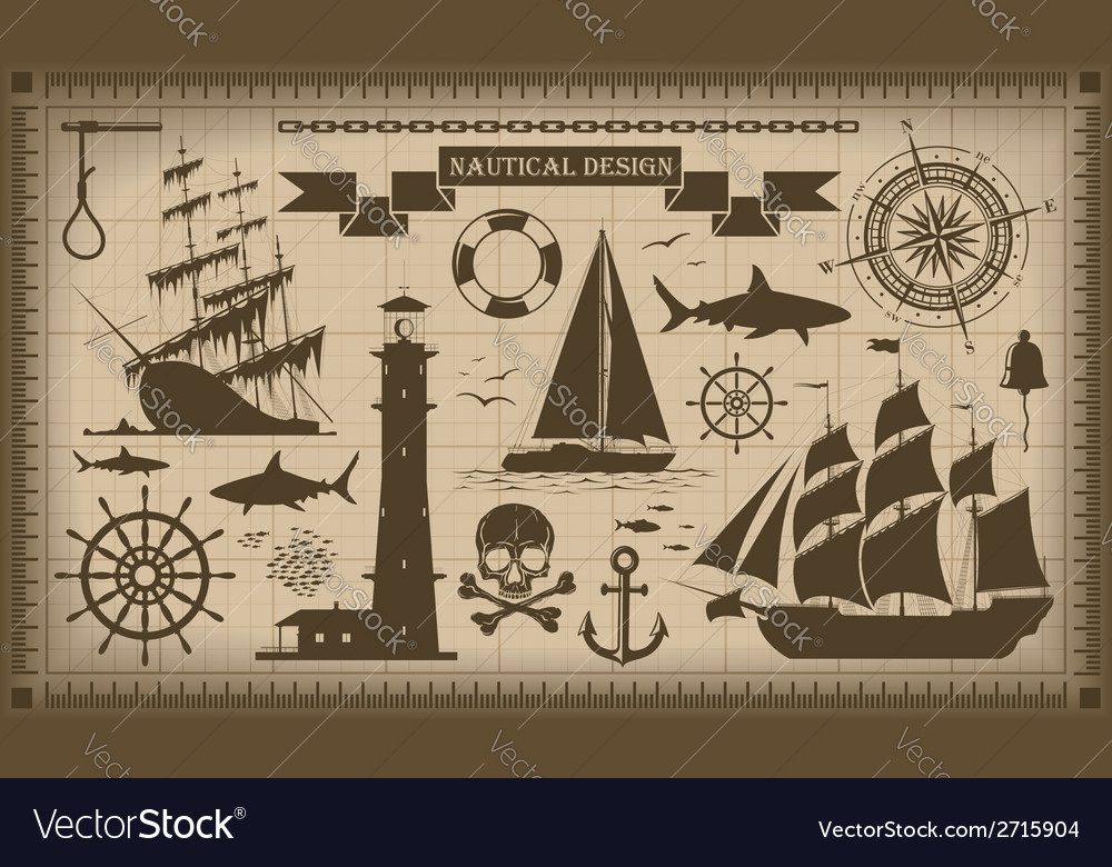 Set of nautical design elements eps10 vector | Price: 1 Credit (USD $1)