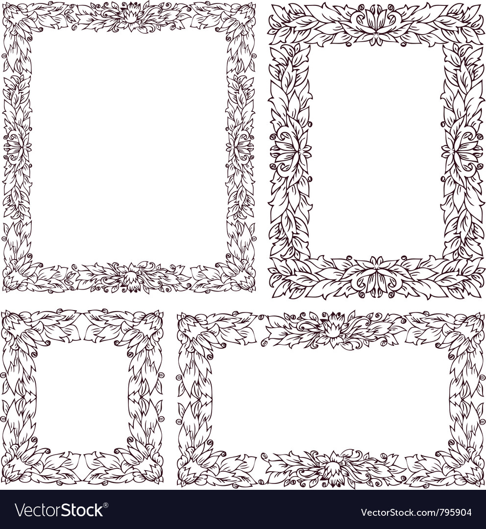 Set vintage frame with floral ornament vector | Price: 1 Credit (USD $1)