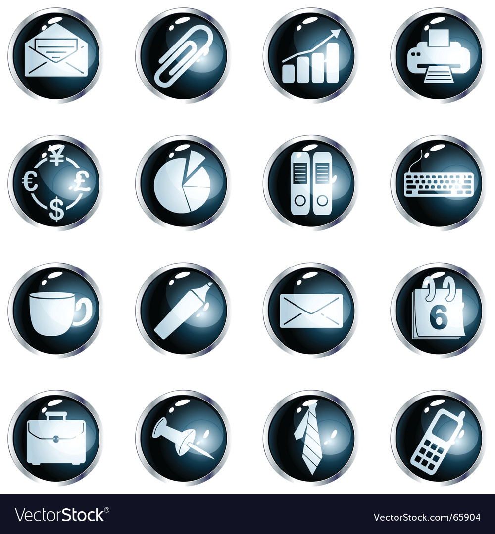Square black high-gloss office buttons vector | Price: 1 Credit (USD $1)