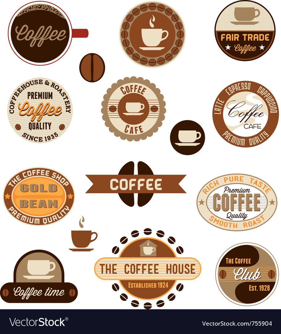 Vintage coffee badges vector | Price: 1 Credit (USD $1)