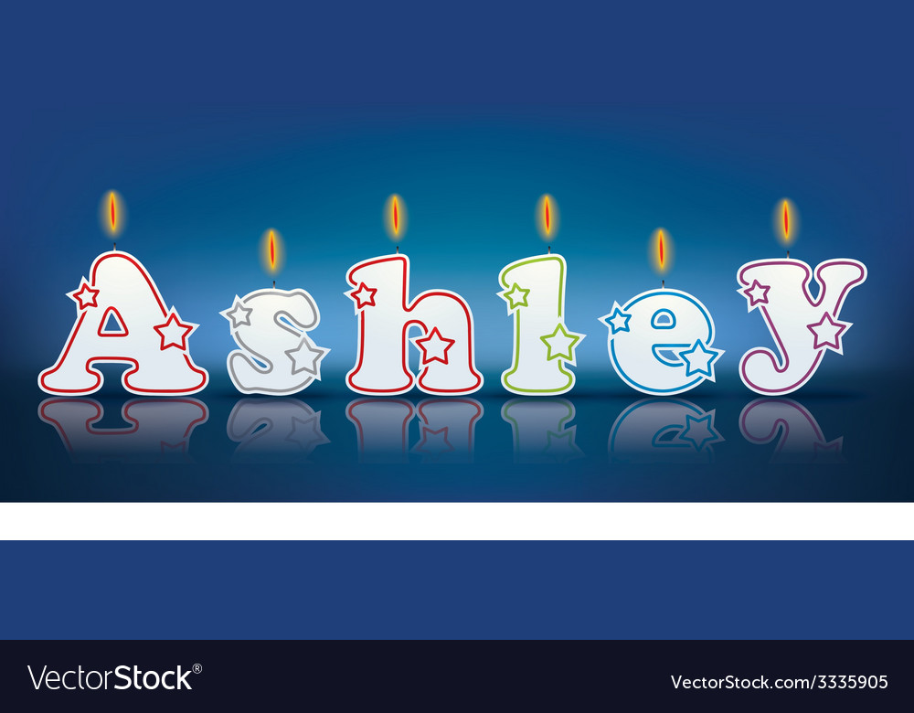 Ashley written with burning candles vector | Price: 1 Credit (USD $1)
