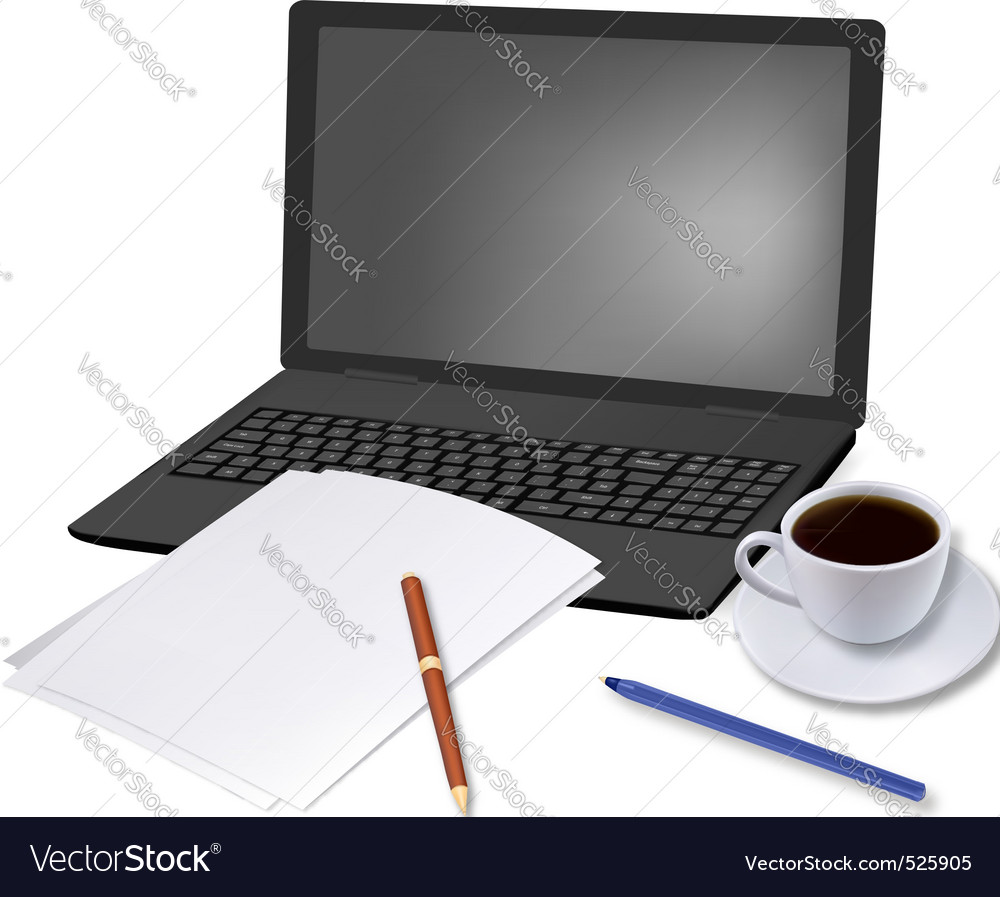 Coffee and laptop and paper shut vector | Price: 3 Credit (USD $3)
