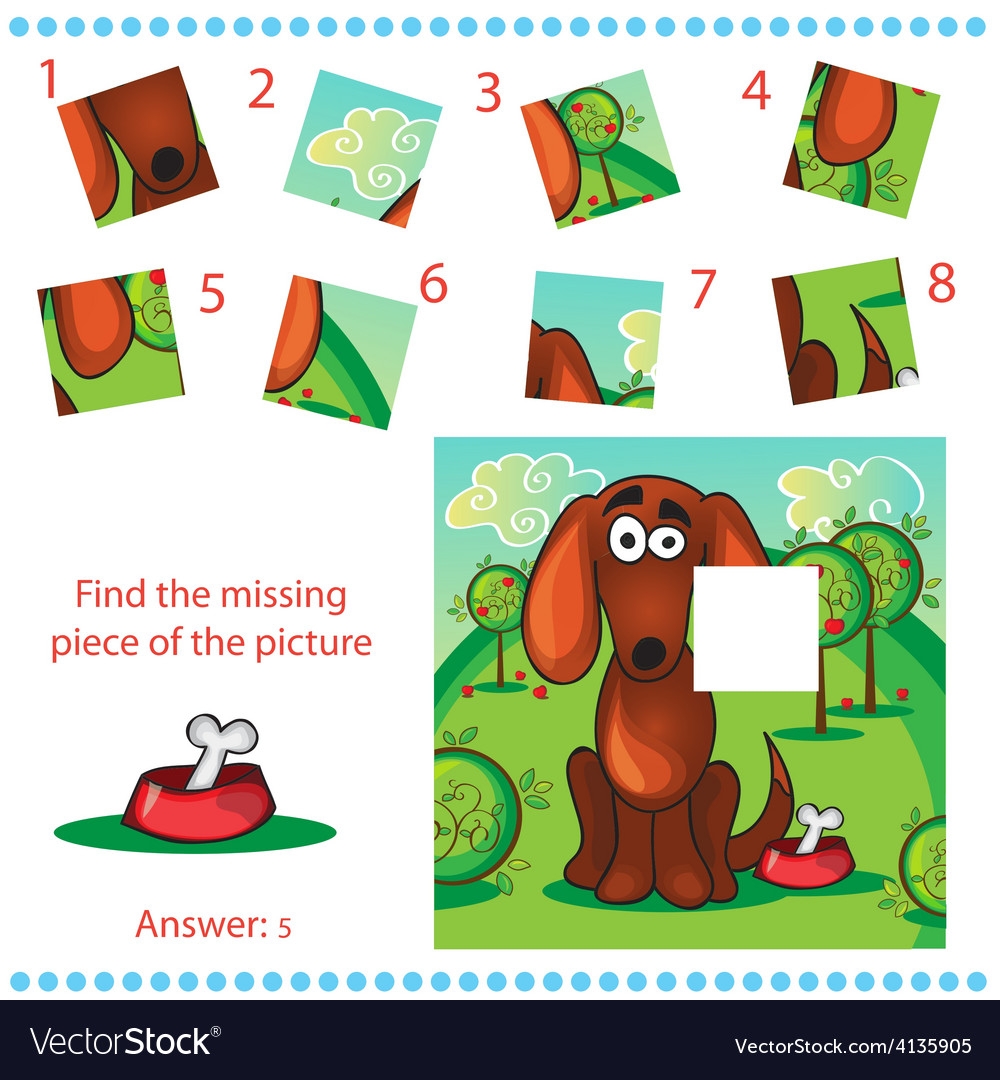 Find missing piece - puzzle game for children vector | Price: 3 Credit (USD $3)