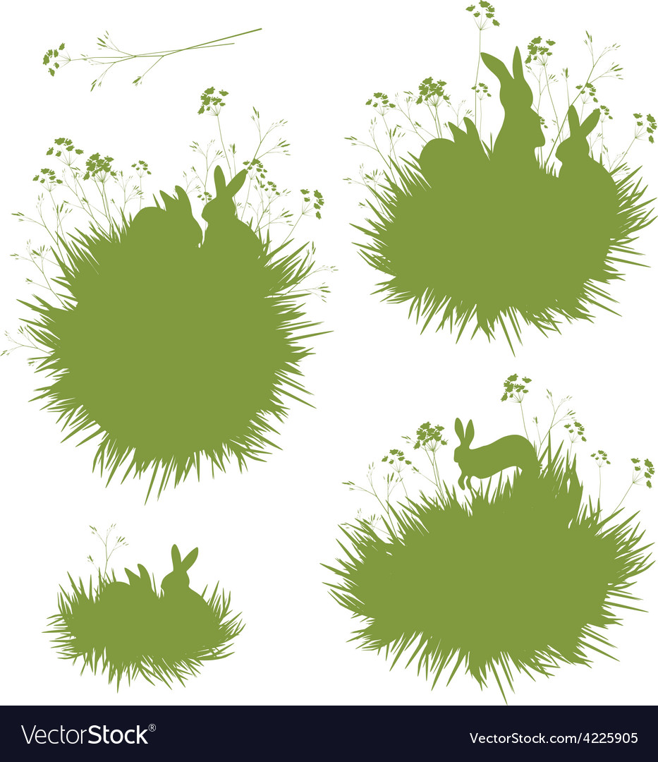 Grass rabbits banners vector | Price: 1 Credit (USD $1)