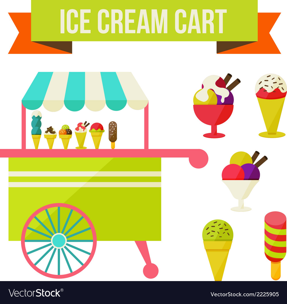 Ice cream cart vector | Price: 1 Credit (USD $1)