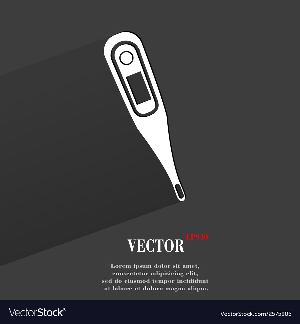 Medical thermometer flat modern web button with vector | Price: 1 Credit (USD $1)