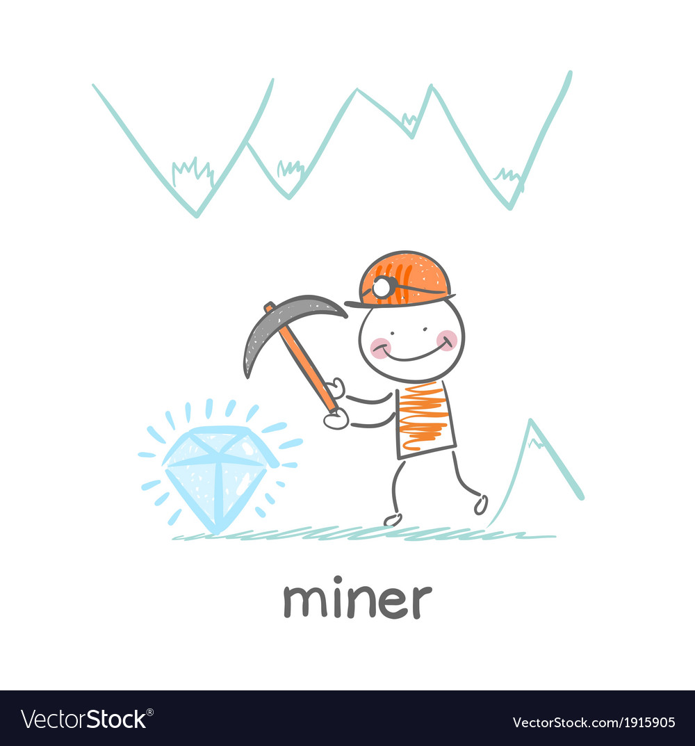 Miner found a gem vector | Price: 1 Credit (USD $1)