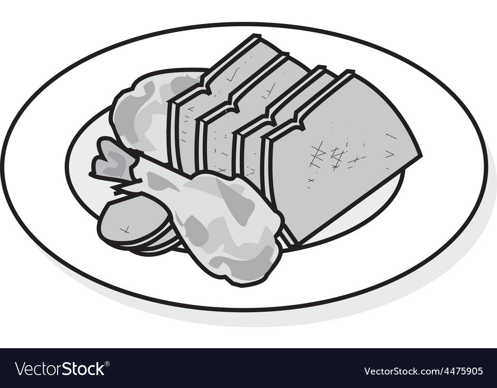 Plate of beef vector | Price: 1 Credit (USD $1)