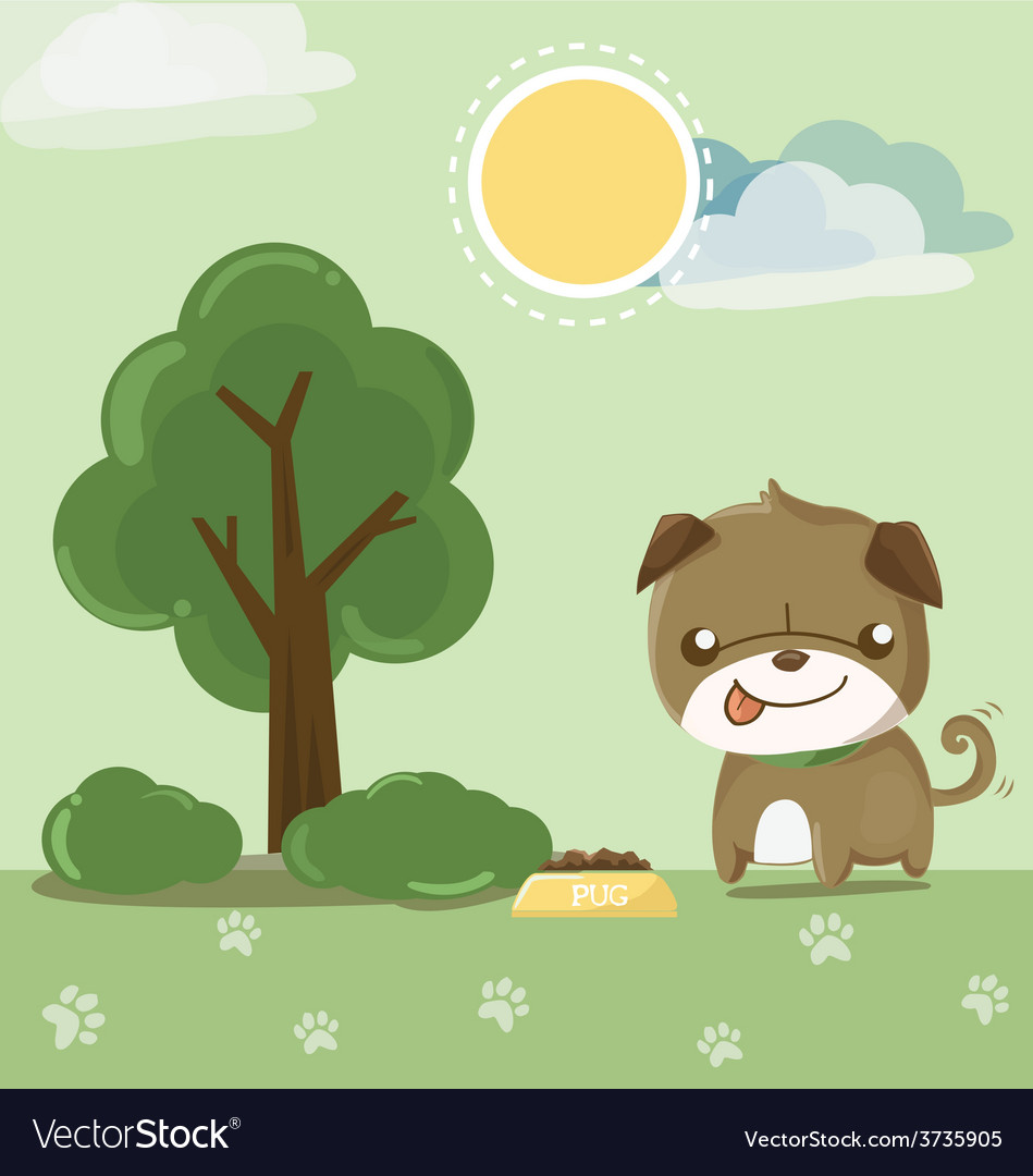 Pug smile in the garden vector | Price: 3 Credit (USD $3)