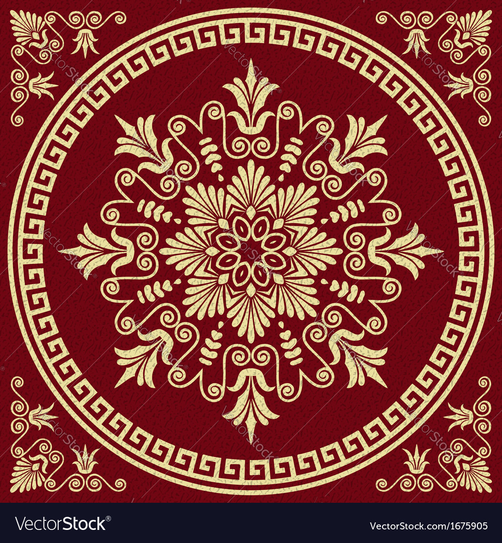Round greek ornament meander and floral pattern vector | Price: 1 Credit (USD $1)