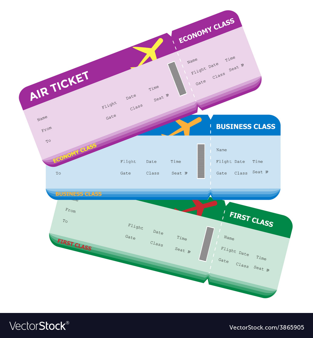 Three classes of blank flight boarding pass vector | Price: 1 Credit (USD $1)