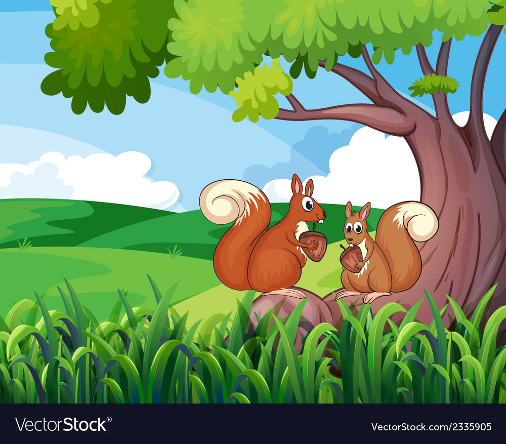 Two wild animals under the tree vector | Price: 1 Credit (USD $1)