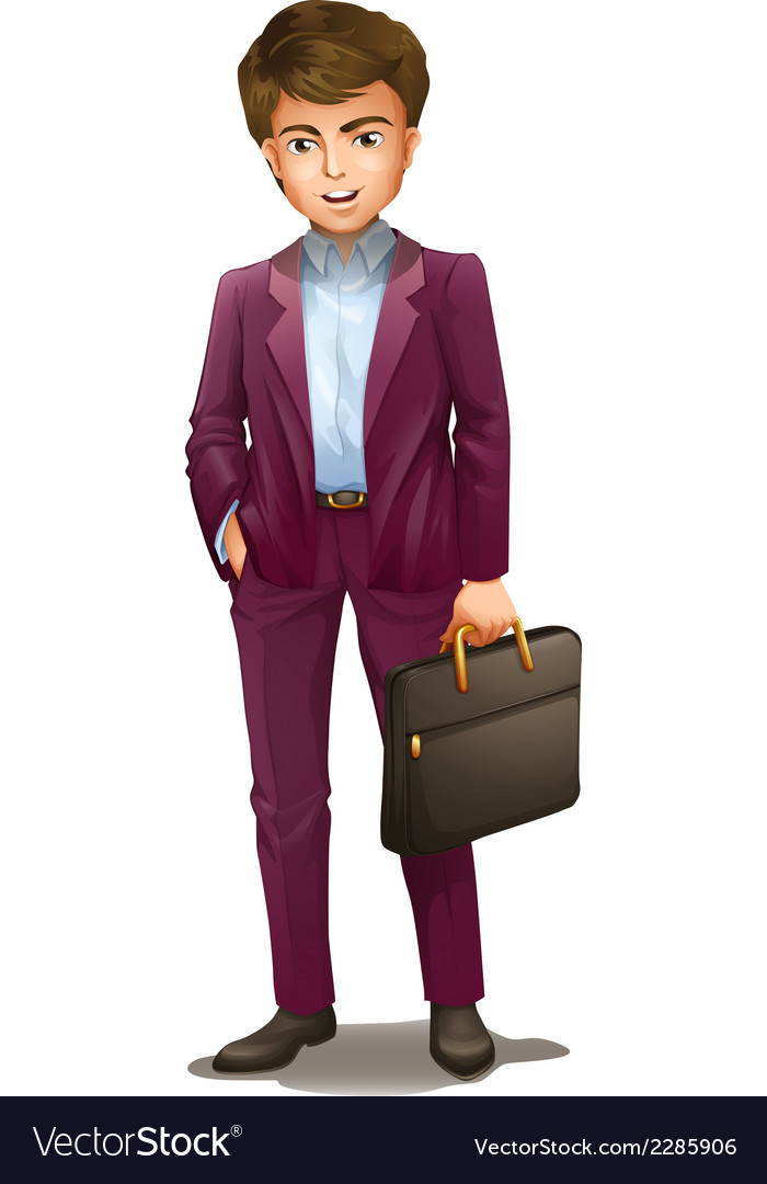 A man holding a suitcase vector | Price: 1 Credit (USD $1)