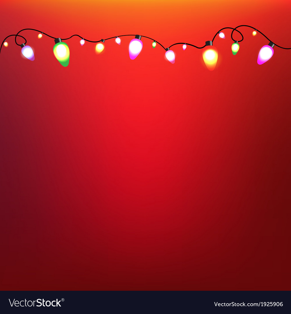 Colorful bulb garland with red background vector | Price: 1 Credit (USD $1)