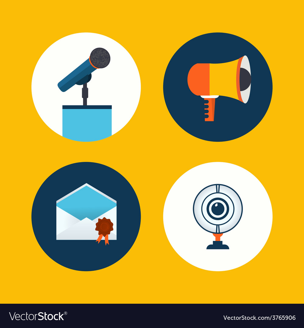 Conference icons in flat style vector | Price: 1 Credit (USD $1)