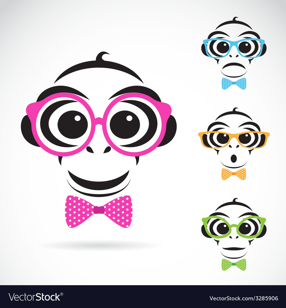 Image of a monkey wearing glasses vector | Price: 1 Credit (USD $1)