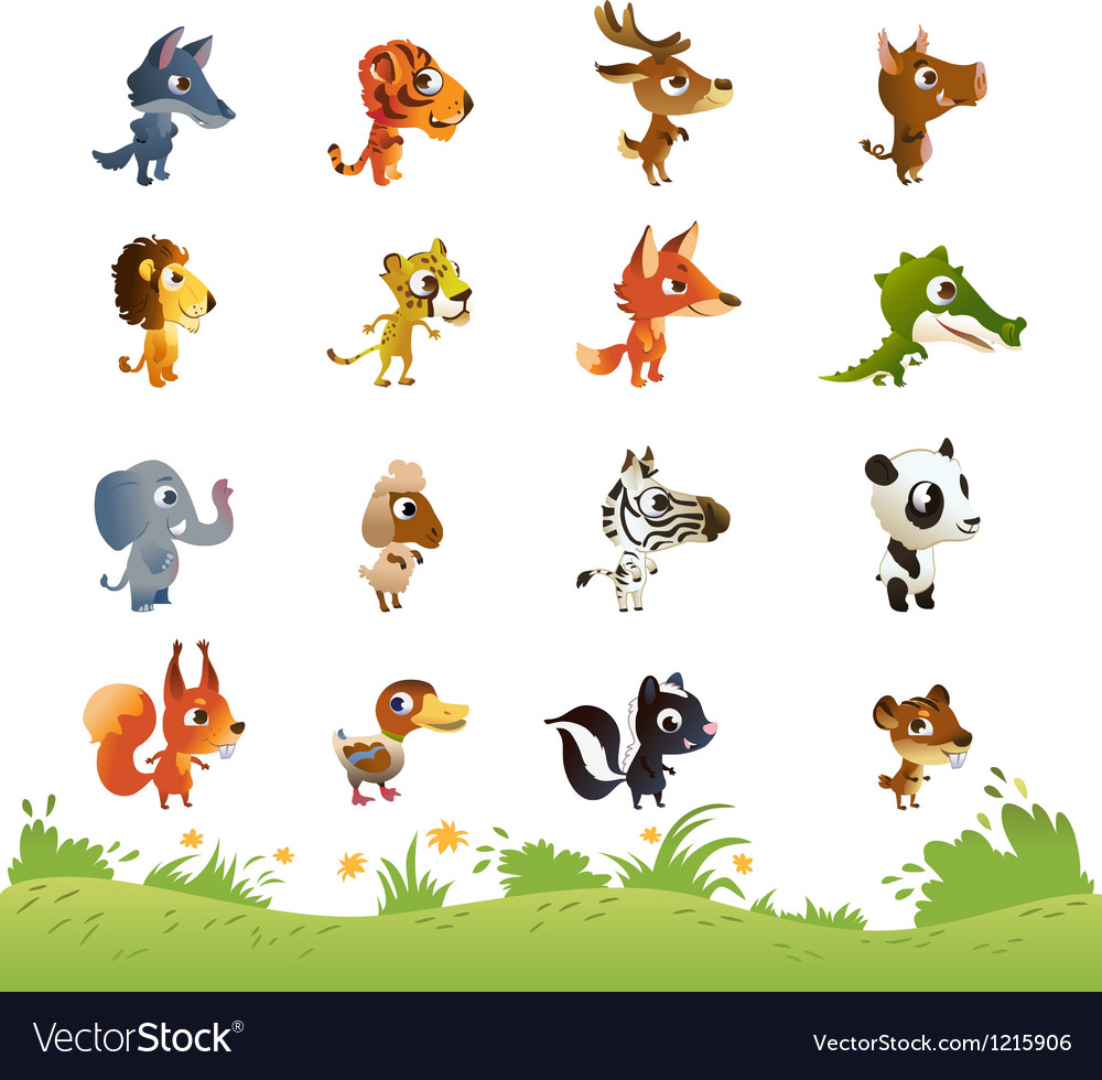 Large collection of cartoon animals vector | Price: 1 Credit (USD $1)