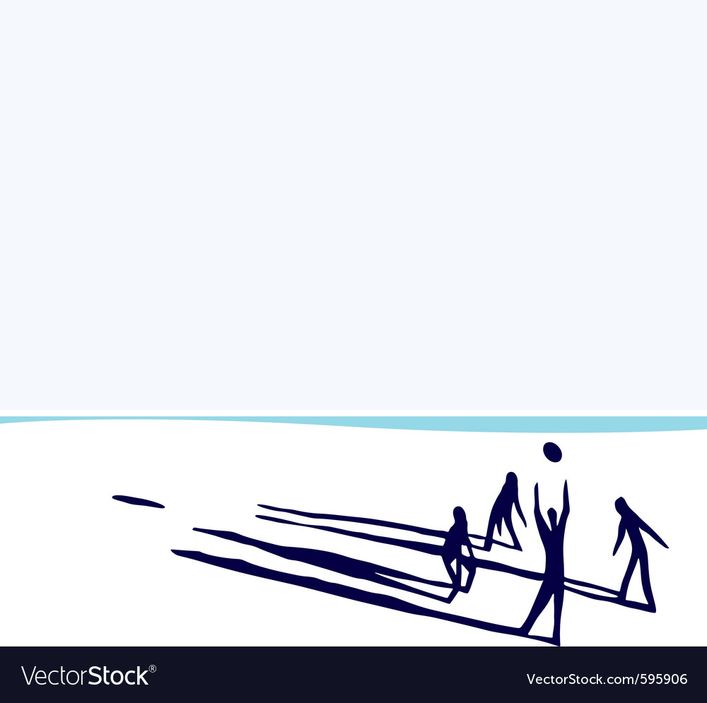 People on beach playing volleyball vector | Price: 1 Credit (USD $1)