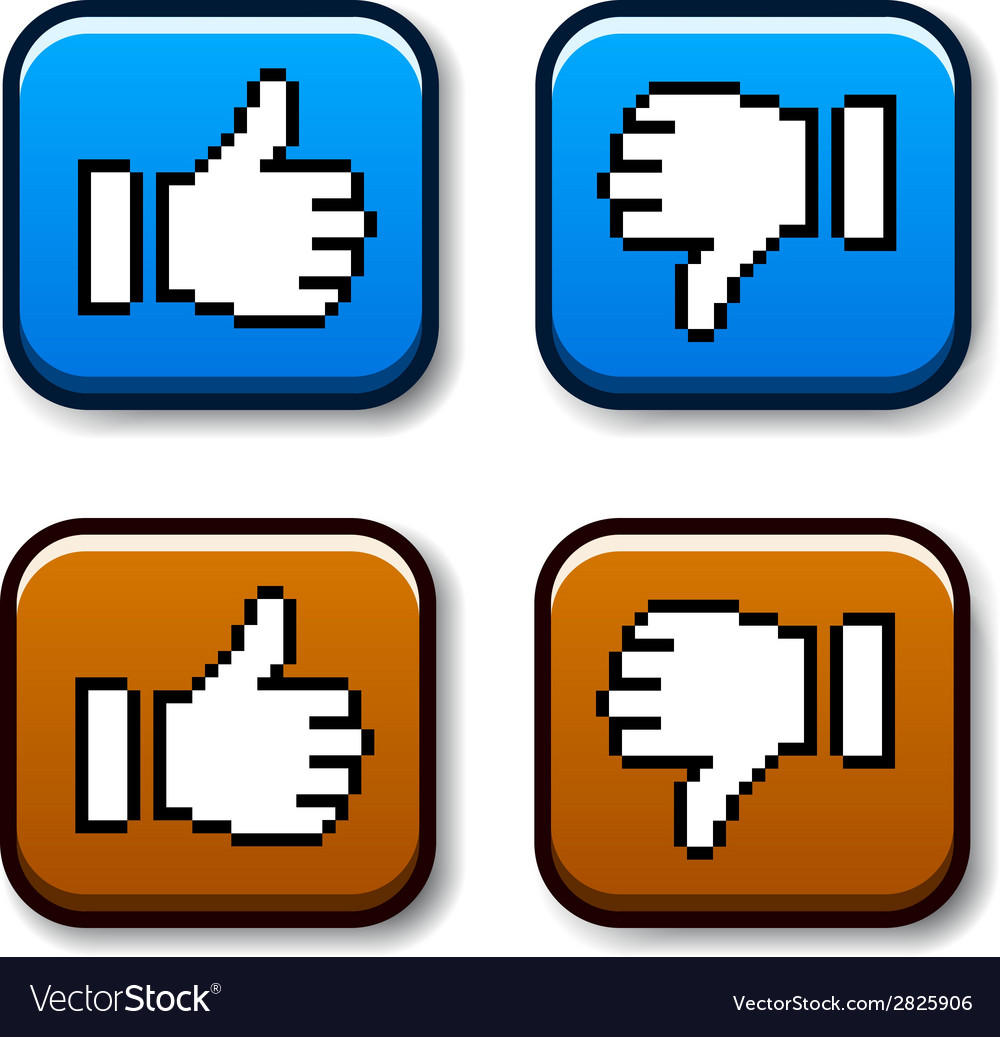 Pixel thumb up and down buttons vector | Price: 1 Credit (USD $1)