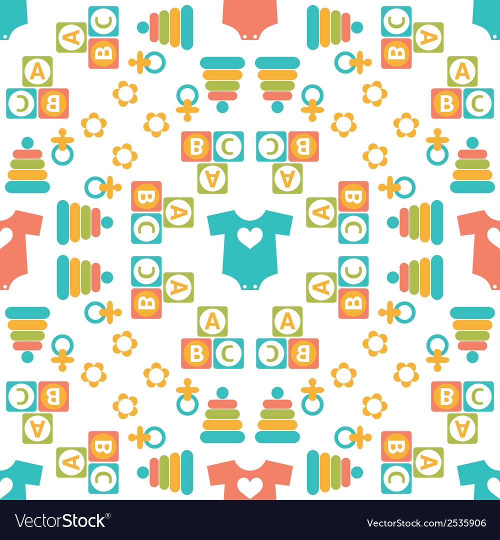 Seamless pattern of baby icons vector | Price: 1 Credit (USD $1)