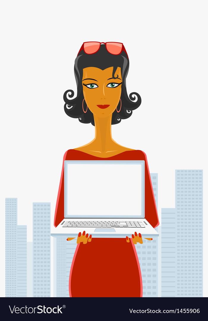 Secretary and laptop vector