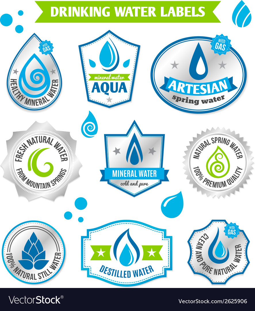 Set of water drops label vector | Price: 1 Credit (USD $1)