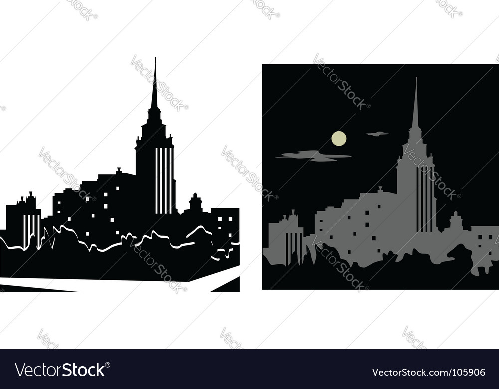 White and black cityscape vector | Price: 1 Credit (USD $1)
