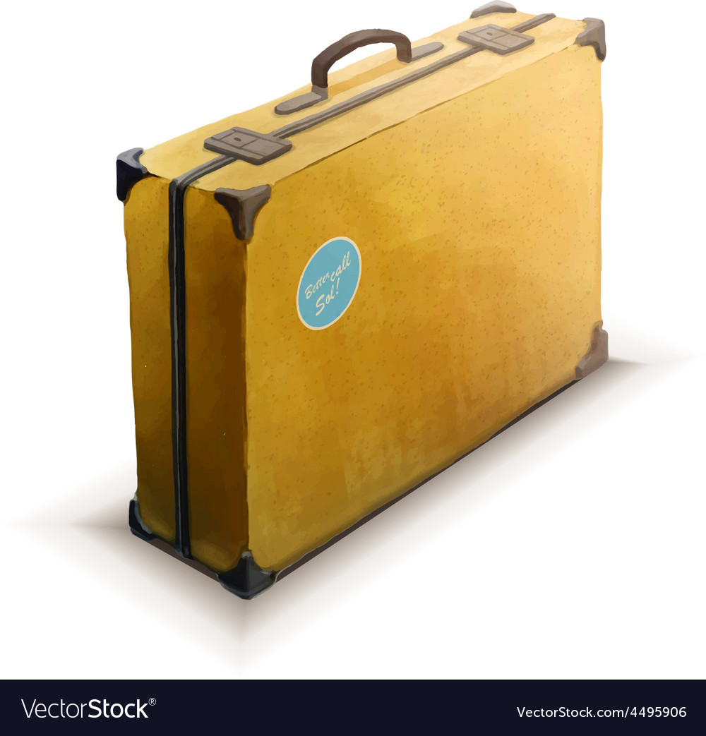 Yellow suitcase with sticker realistic icon on vector | Price: 1 Credit (USD $1)