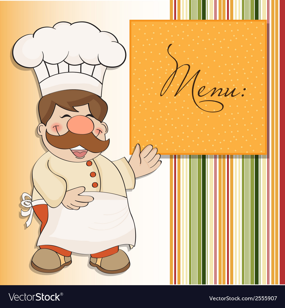 Background with smiling chef and menu vector | Price: 1 Credit (USD $1)