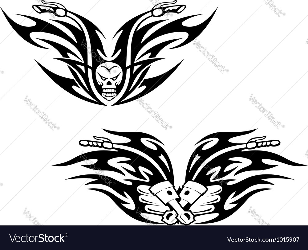Black bikes tattoos vector | Price: 1 Credit (USD $1)