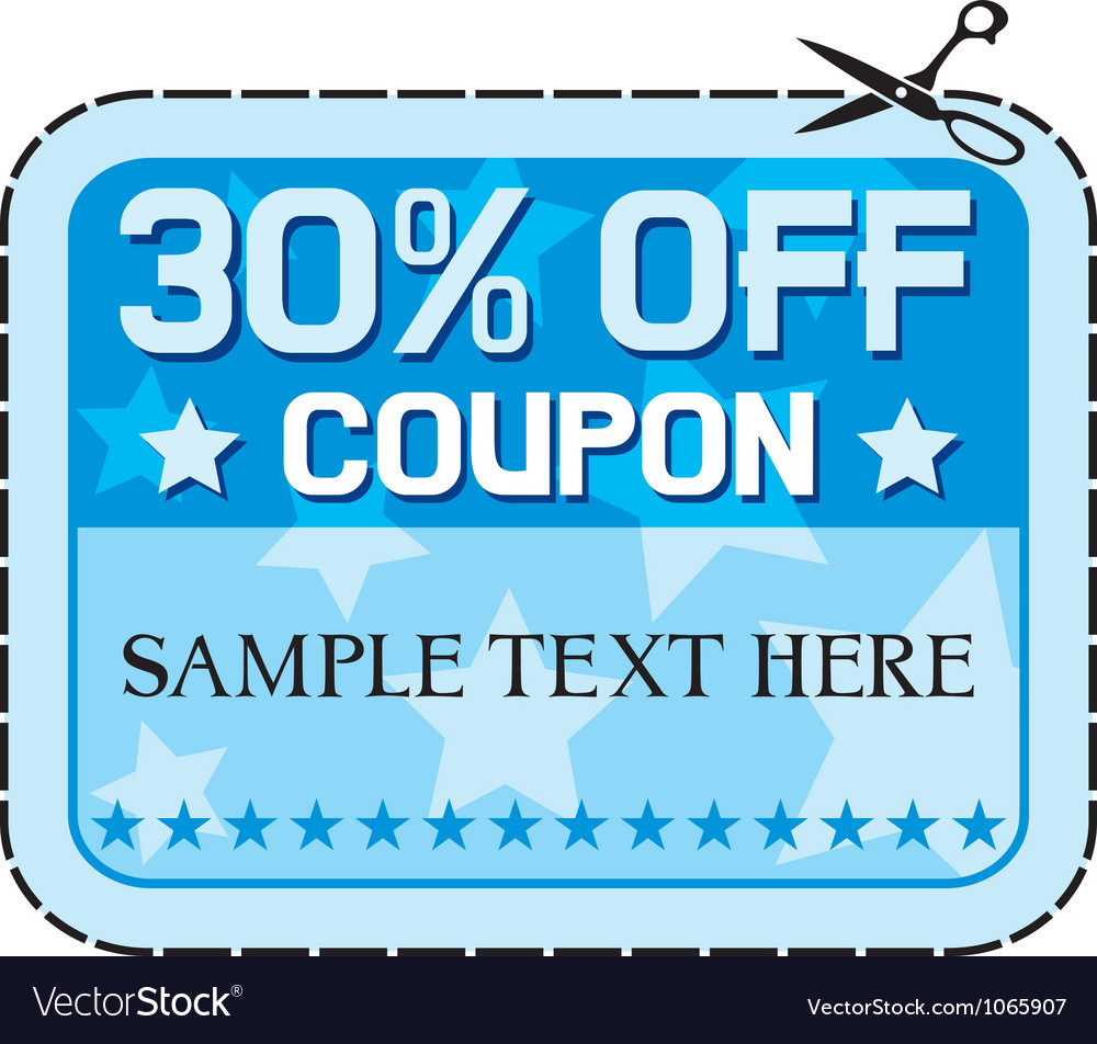 Coupon sale thirty percent discount vector | Price: 1 Credit (USD $1)