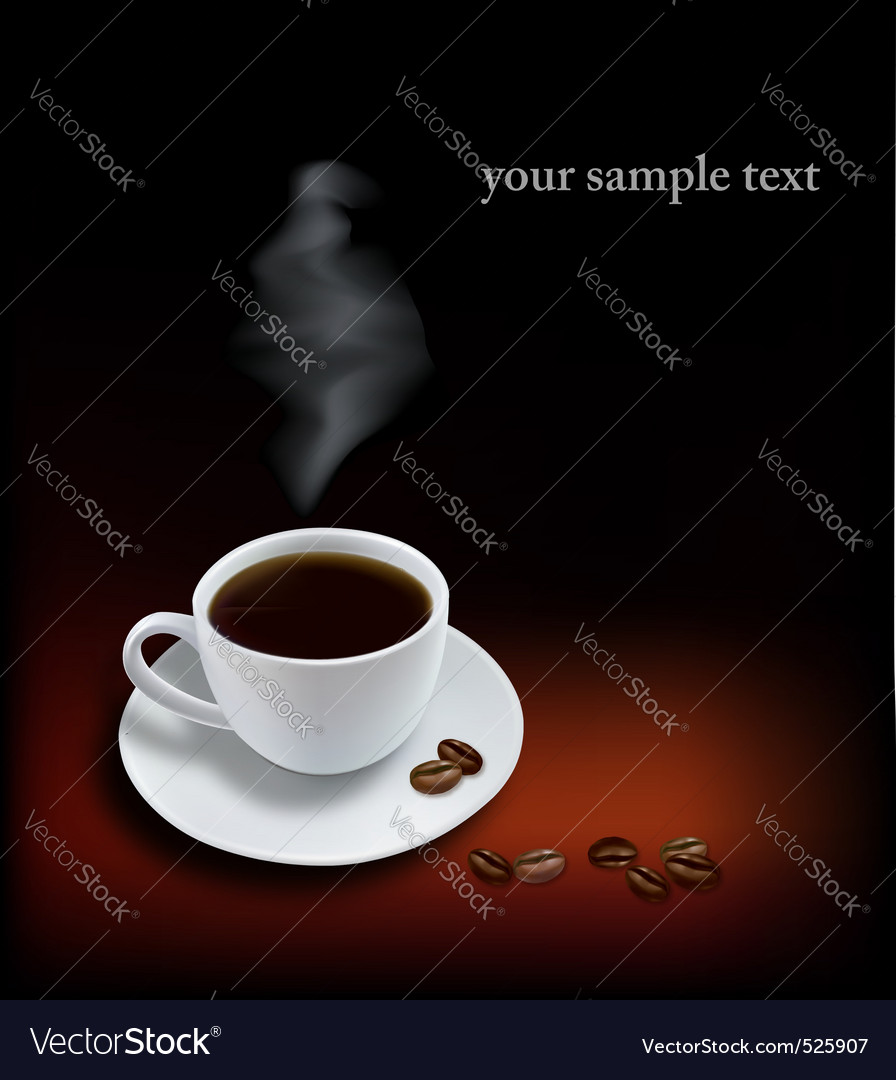 Cup coffee and beans black background vector | Price: 1 Credit (USD $1)