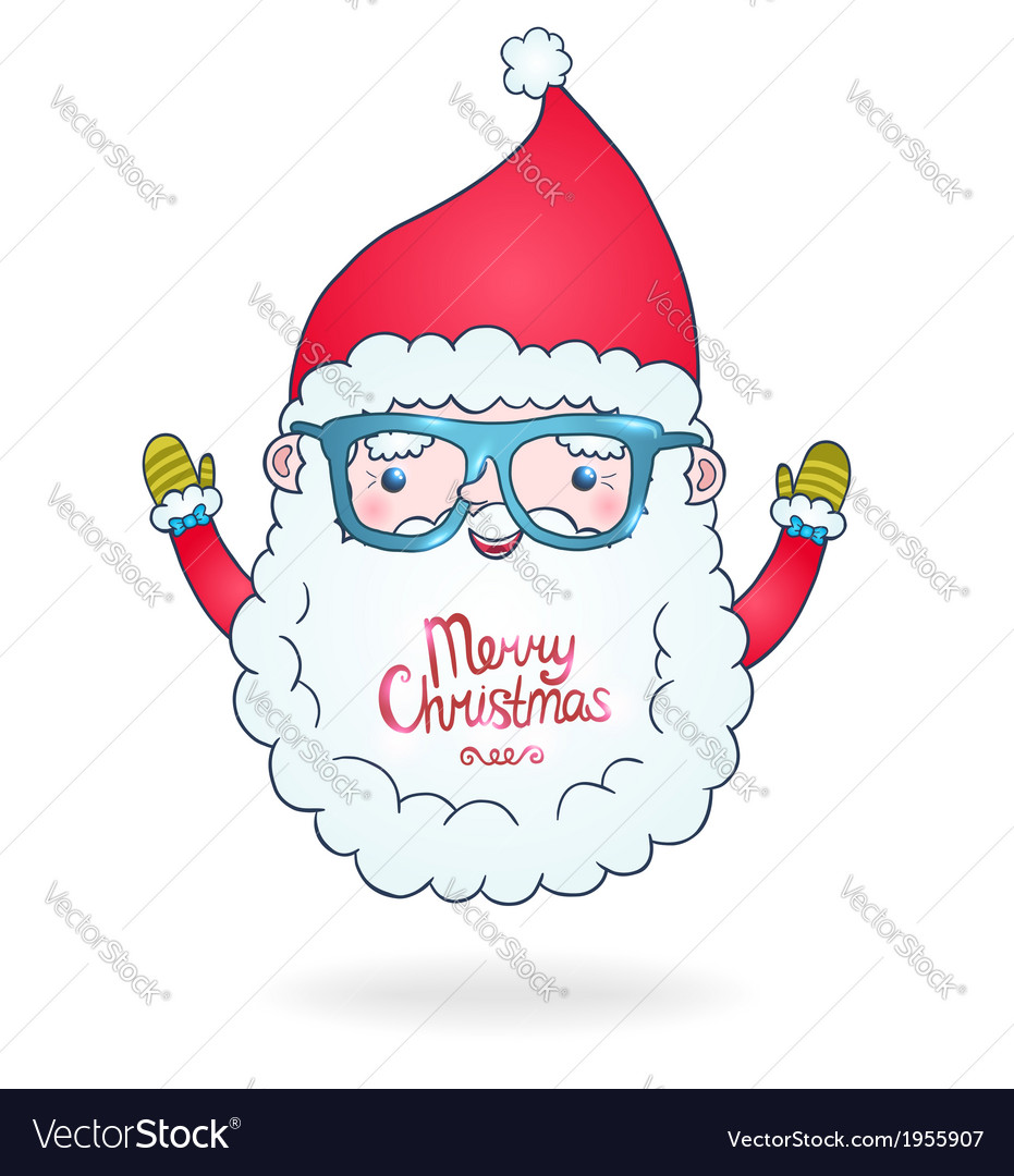 Cute cartoon santa claus with hipster glasses vector | Price: 1 Credit (USD $1)
