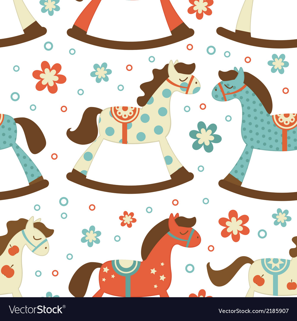Cute rocking horses background vector | Price: 1 Credit (USD $1)