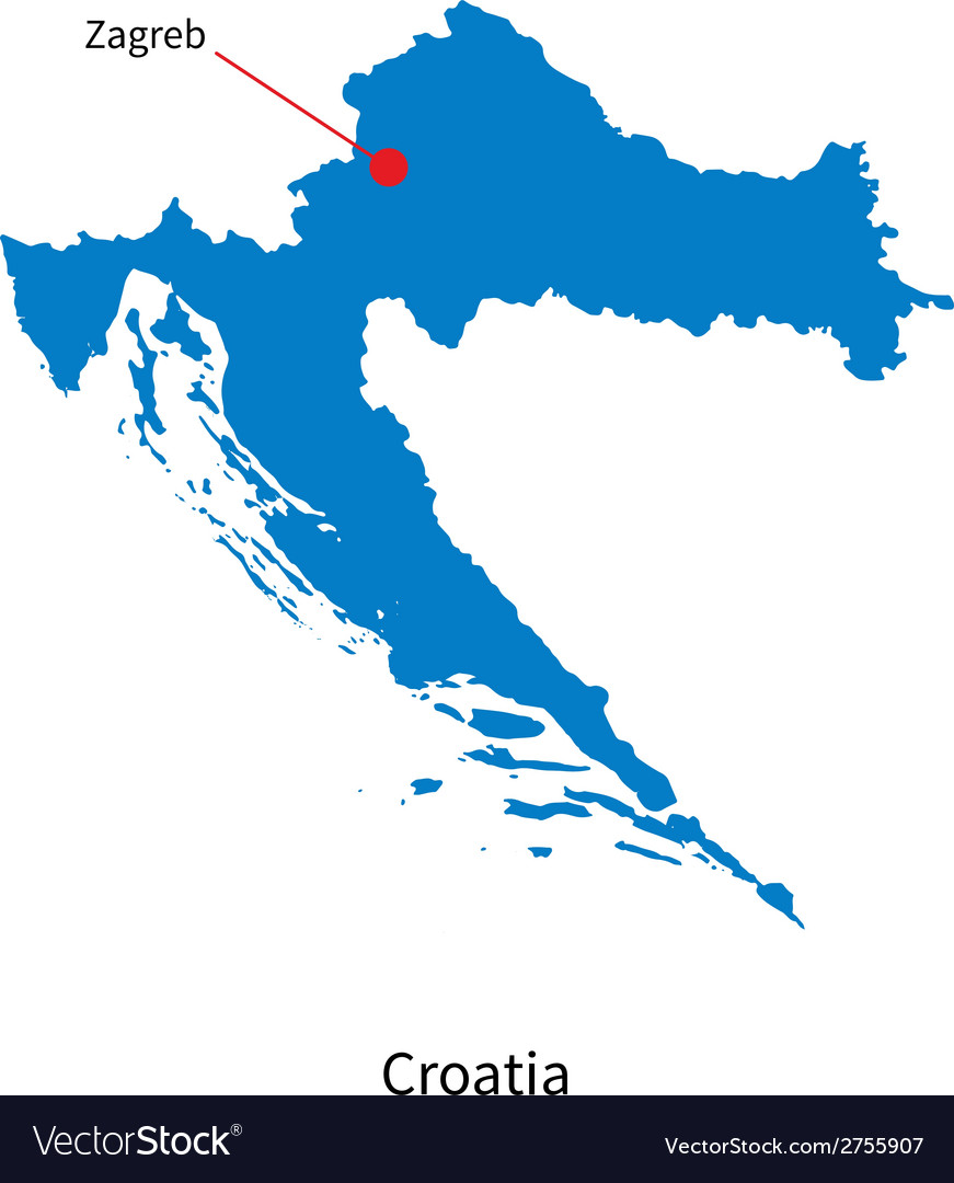 Detailed map of croatia and capital city zagreb vector   Price: 1 Credit (USD $1)