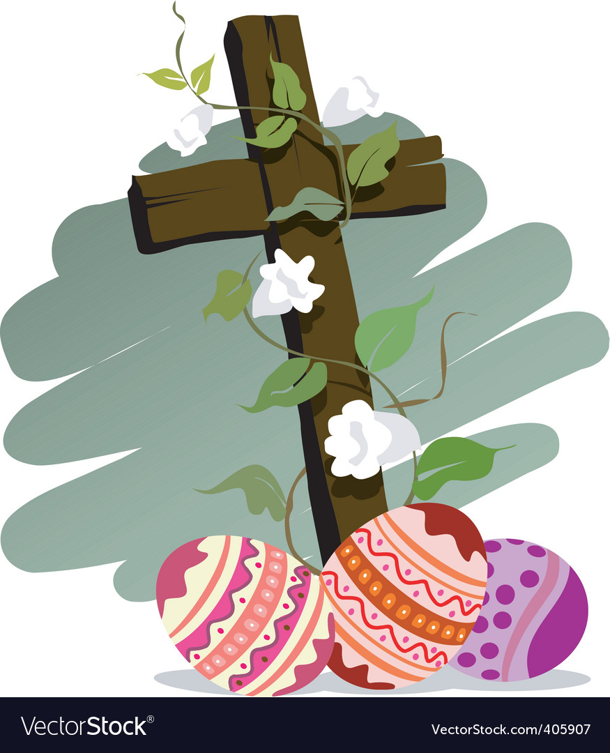 Easter eggs with white flower vector   Price: 1 Credit (USD $1)