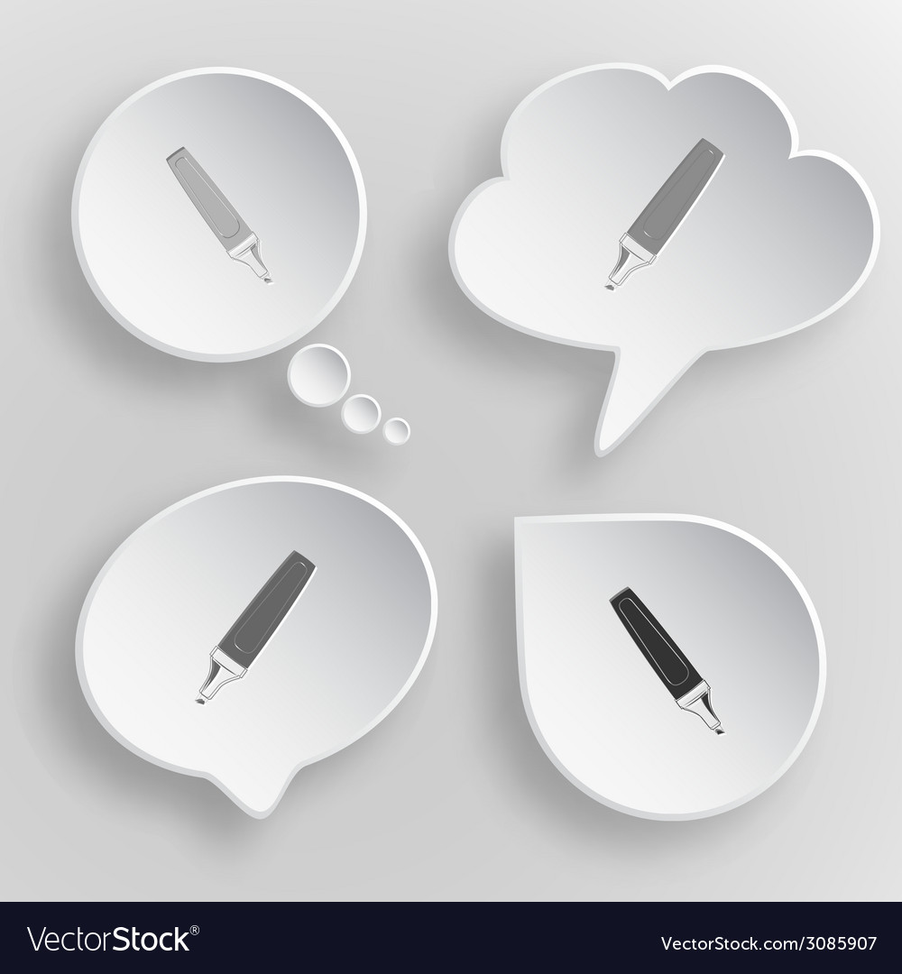 Felt pen white flat buttons on gray background vector   Price: 1 Credit (USD $1)