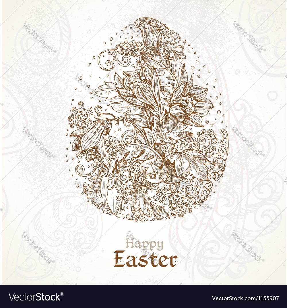 Happy easter vintage background with delicate egg vector | Price: 1 Credit (USD $1)