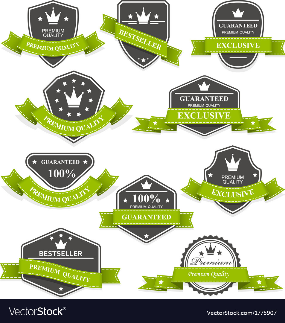 Heraldic medals and emblems with ribbons vector | Price: 1 Credit (USD $1)