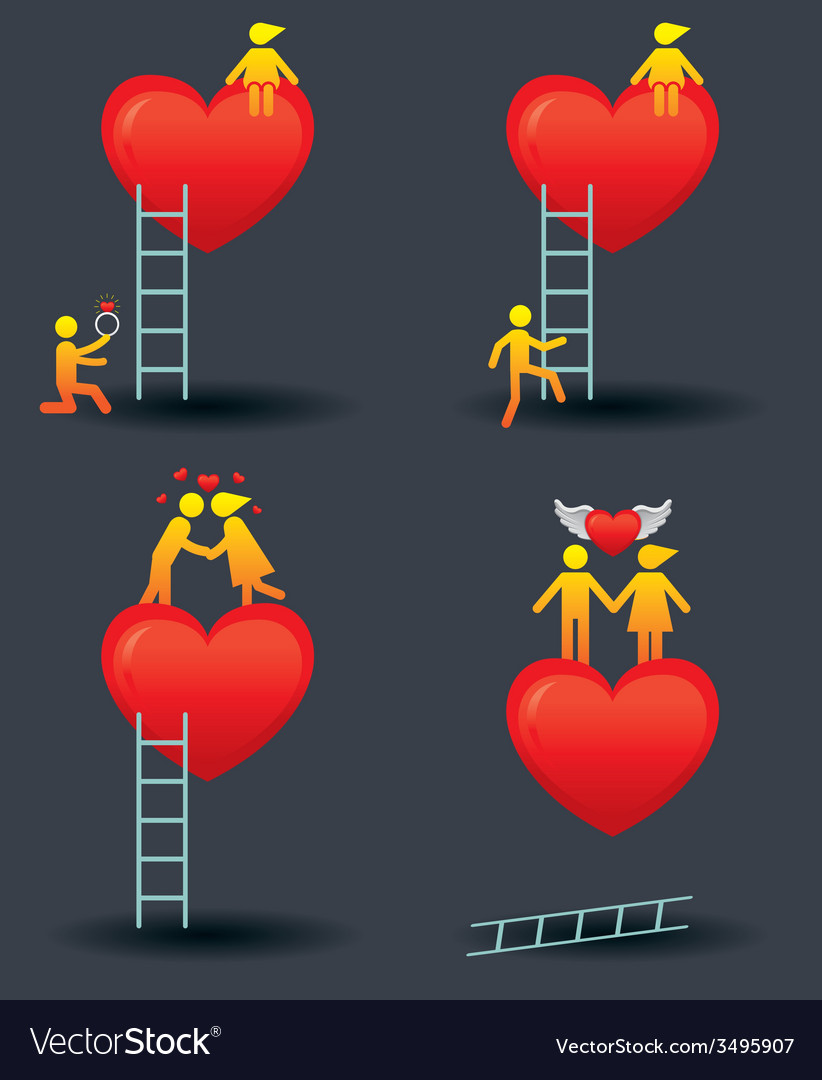 Human symbol love story with ladder vector | Price: 1 Credit (USD $1)