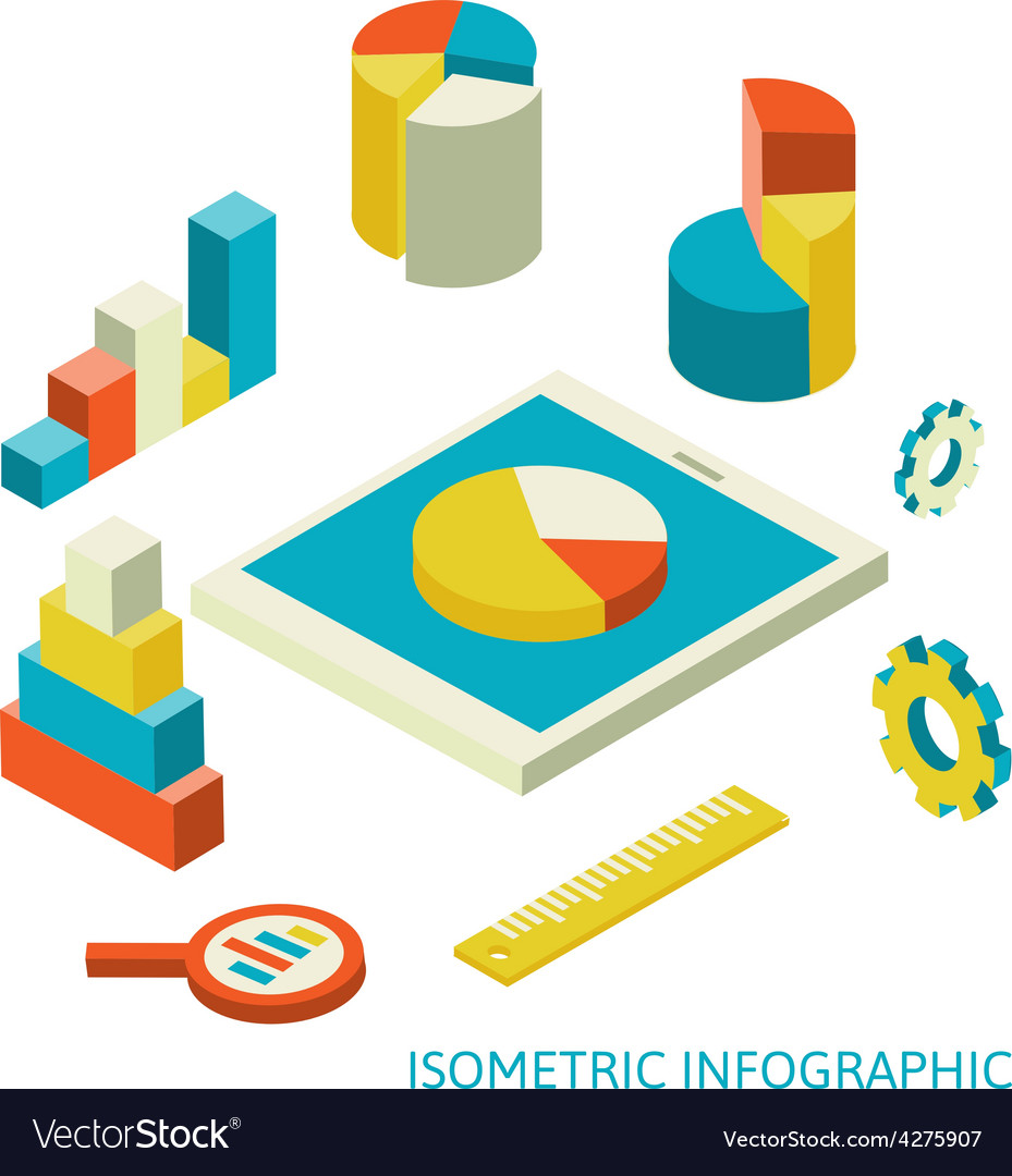 Isometric business finance analytics chart vector | Price: 1 Credit (USD $1)