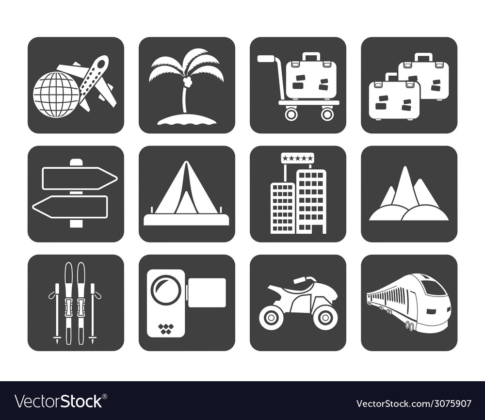 Silhouette holiday travel and transportation icons vector | Price: 1 Credit (USD $1)