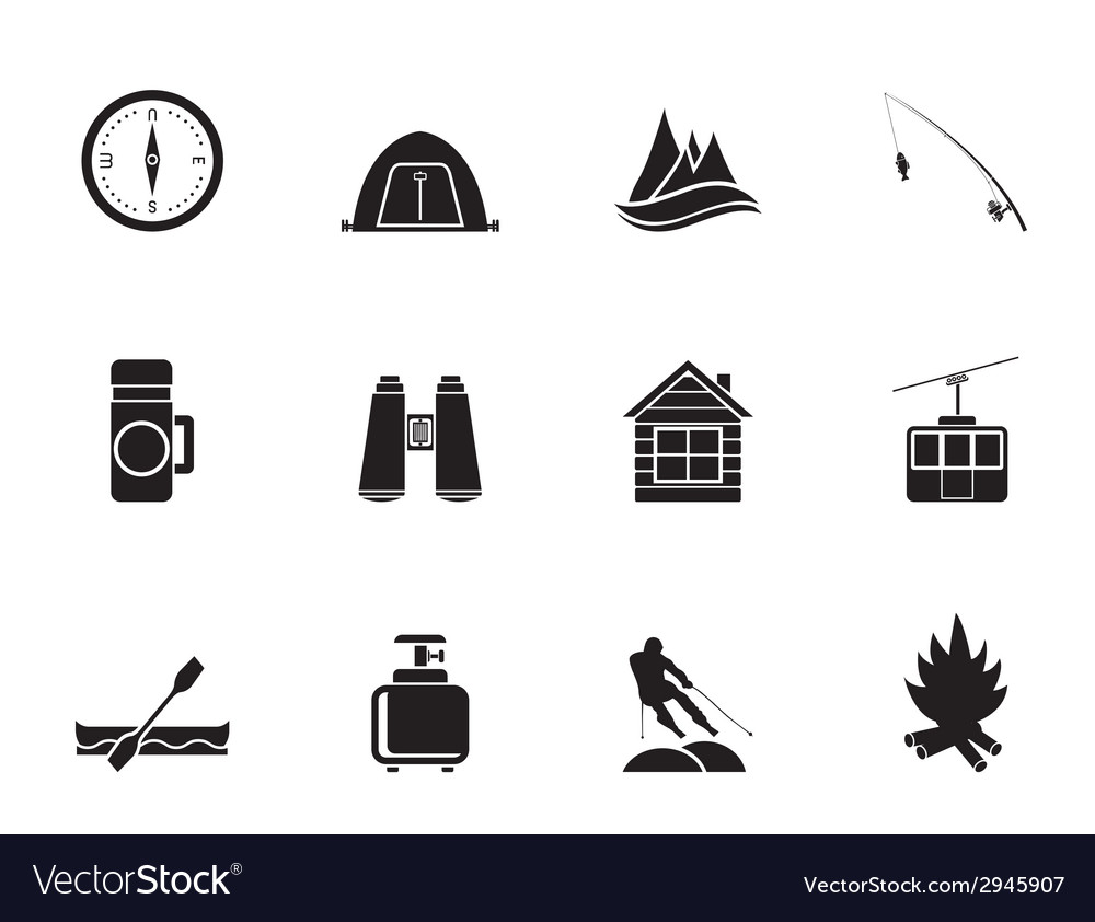 Silhouette tourism and mountain objects vector | Price: 1 Credit (USD $1)