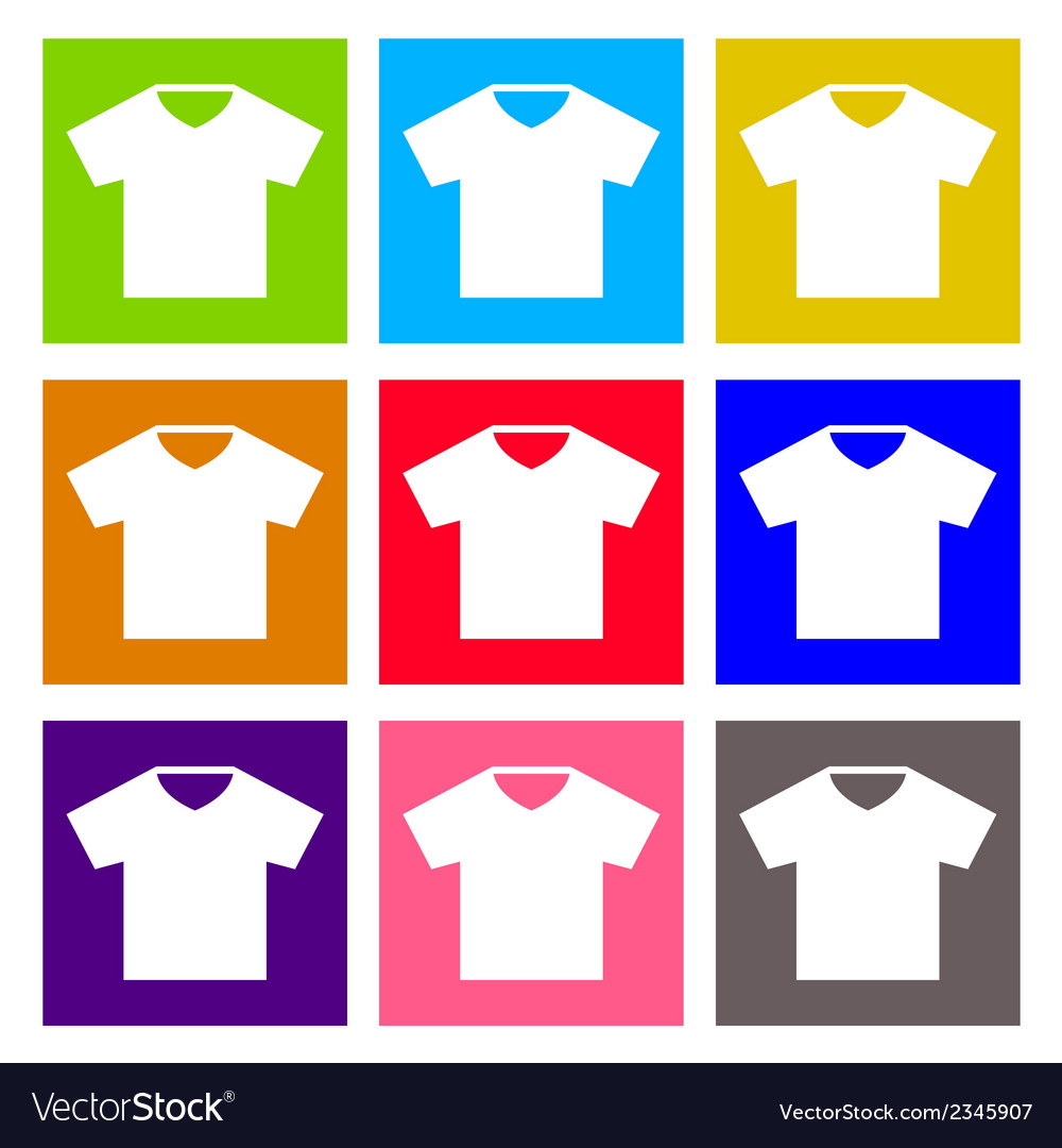 T-shirt sign icon clothes symbol round colourful vector | Price: 1 Credit (USD $1)